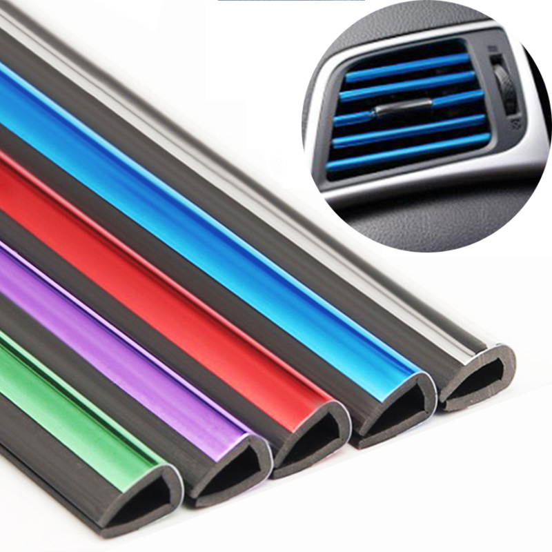 10pcs Car-styling plating Air outlet trim strip Interior Air Vent Grille Switch Rim Trim Outlet Decoration Strip DIY Accessories(China)