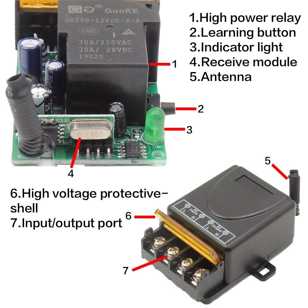433 МГц 220 в водяной насос переключатель дистанционного управления AC 110 В 1ch 30A модуль приемника вкл/выкл беспроводной радиочастотный передатчик для легкого вентилятора Diy