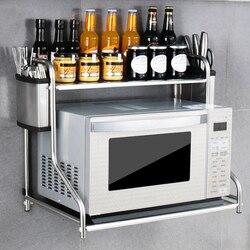 Neue 2 Schicht Edelstahl Mikrowelle Rack wand Ofen Regal Haushalt Küche Liefert Dicke Halterung Regal Veranstalter