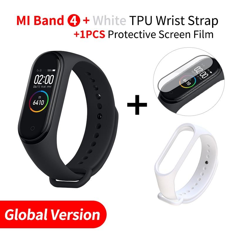 Xiaomi mi Band 4 Smart mi band 3 Цвета экран Браслет фитнес-трекер для измерения сердечного ритма Bluetooth 5,0 водонепроницаемый банда4 - Цвет: EN Add White Strap