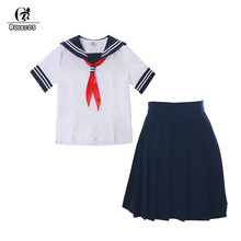 ROLECOS Women Preppy Uniform Girl School Uniform Summer Outfit White T-shirt Navy Skirt Women Suit Short Sleeve Casual Costume(China)