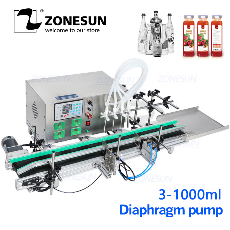 ZONESUN Full Automatic Desktop CNC Liquid Filling Machine With Conveyor Alcohol For Perfume  Hand Sanitizer Water Filler