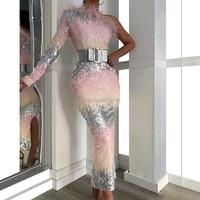 One Shoulder Mermaid Evening Dress Ankle Length Full Sleeves Feather Sash Prom Dress Sequined Formal Dress Коктейльный костюм