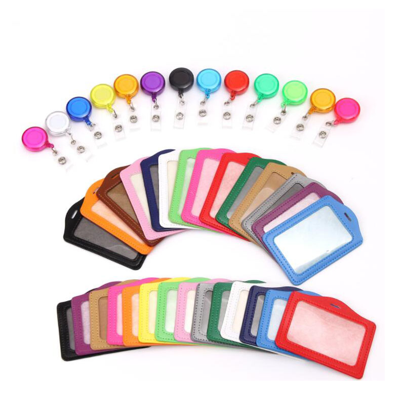 1PCSTransparent Card Holder With Retractable Pull Badge Lanyard Nurse Doctor Exhibition ID Card Badge Holder Student Card Holder