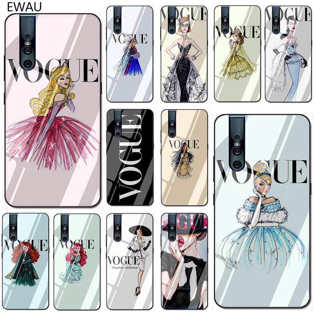 EWAU Vogue принцесса закаленное Стекло телефона чехол КРЫШКА ДЛЯ VIVO V9 V15 Y17 Y85 Y89 Y93 Y95 Y91 C