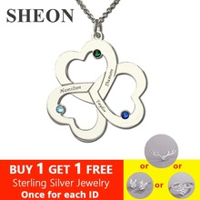 SHEON 925 Sterling Silver Personalized Customizable Triple Heart Necklace with Names & Birthstones For Valentines Day Gift