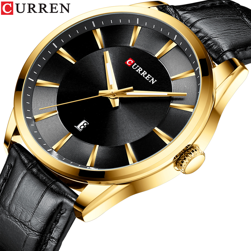 CURREN Black Gold Fashion Casual Quartz Watch Man Watch Leather Strap Business Military Wrist Watch Relojes Clock Male