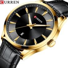 CURREN Black Gold Fashion Casual Quartz Watch Man Watch Leat