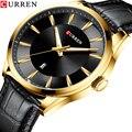 CURREN Schwarz Gold Mode Lässig Quarzuhr Mann Uhr Lederband Business Military Armbanduhr Uhren Uhr Männlich