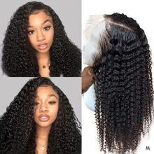 13x4 Remy Kinky Curly Lace Front Wig Women's Human Hair Wigs For Black Women Salon Wig Pre Plucked Frontal Ponytail Toppers 150%(China)