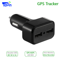 Topin CT2 Car Charger GPS Tracker GPS GSM Wifi LBS Real time Tracking Call SMS Voice Monitoring Recorder Free APP Web ZX303 PCB