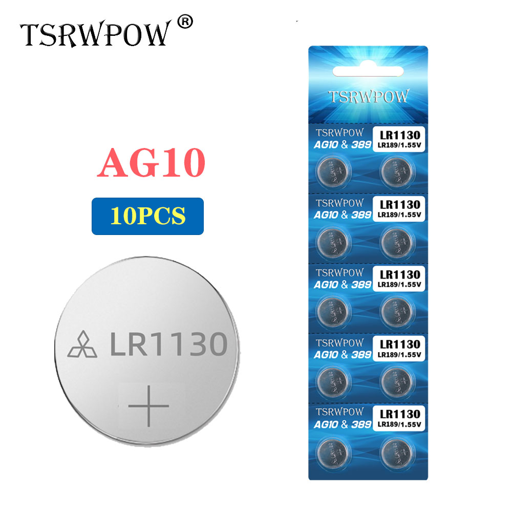 TSRWPOW 10pcs/Pack AG10 Cell Coin Battery For Watch Toys Remote 1.55V SR54 LR54 LR1130 L1131 389 Alkaline Button Batteries