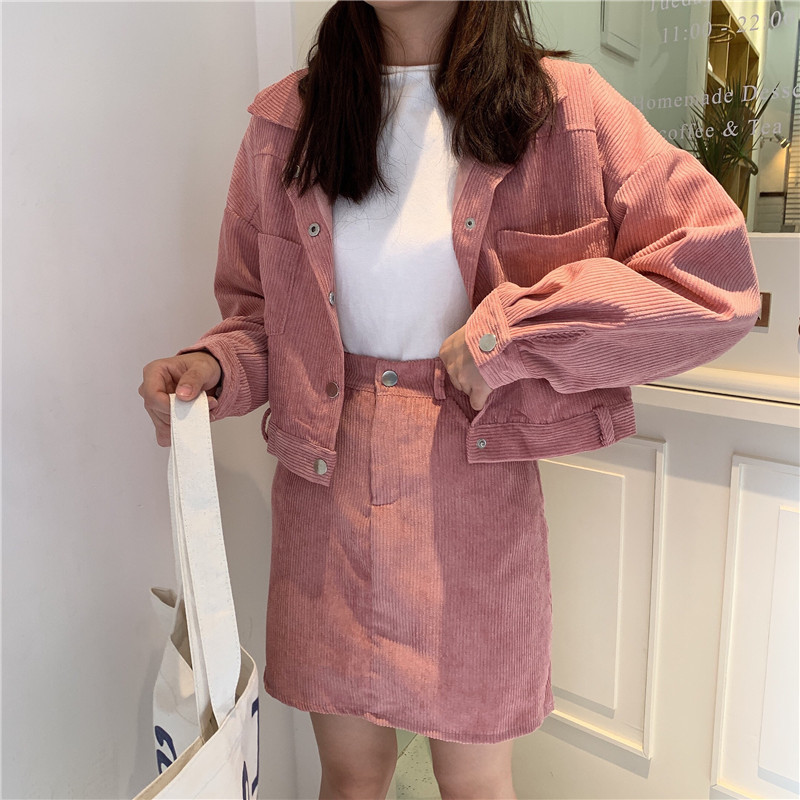 Women Fashion Outfits Small Girl Two Piece Blue Pink Skirt Sets Short Corduroy Jacket&High Waist Mini Skirt Suits 2PC Dress Sets