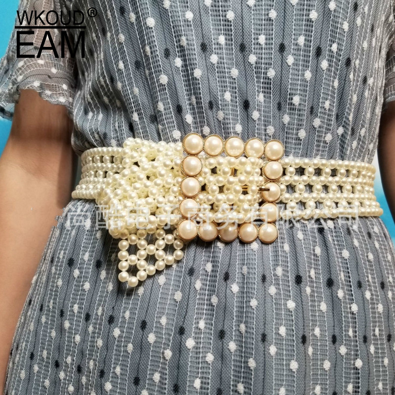 WKOUD EAM 2020 New Fashion Design Pearl Waistband Women Wild Dress High Quality Belt Lady PE240
