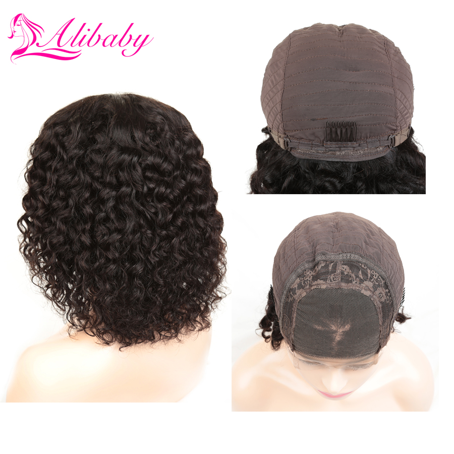 Alibaby Malaysian Curly Wig Bob Wig Lace Front Human Hair Wigs Water Wave Remy 4x4 Closure Wig Natural Color Lace Front Wig