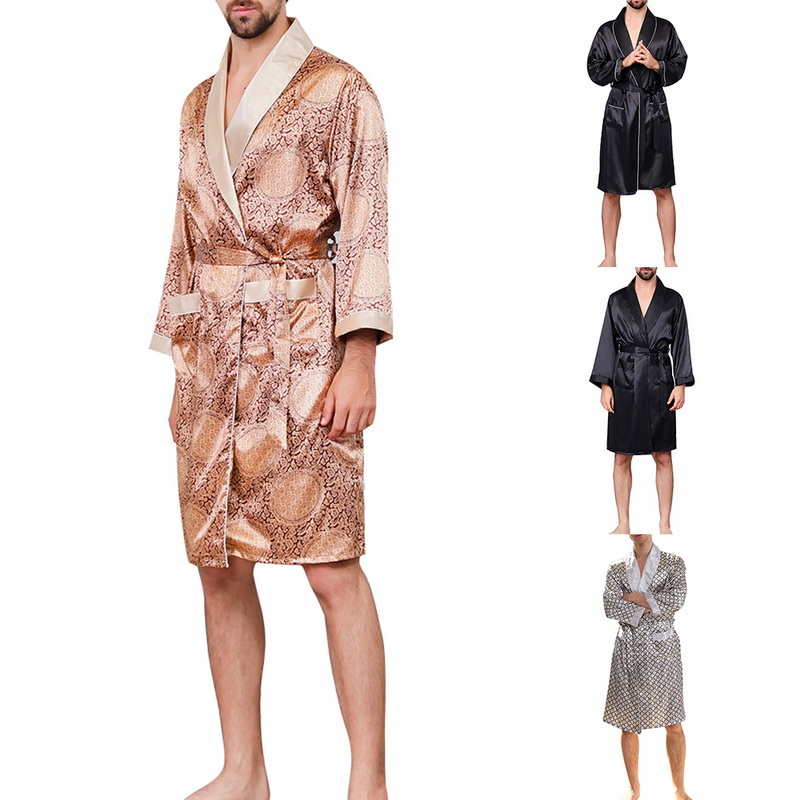 2019 Men's Sexy V-neck Silk Robe Section Sleepwear Silk Long-sleeved Printed Robes Male Ropa Pajamas Nightgown Satin Bathrobe