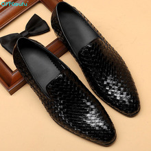 QYFCIOUFU Summer New Fashion Weaving Formal Shoes Men Dress Loafers Genuine Leather Men's Slip-on Shoes Handmade Office Shoes