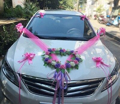 Us 19 97 15 Off 1 Set Romantic Style Heart Shaped Wedding Car Decoration Flowers Set Wedding Decorative Simulation Car Wedding Pe Rose Flowers On