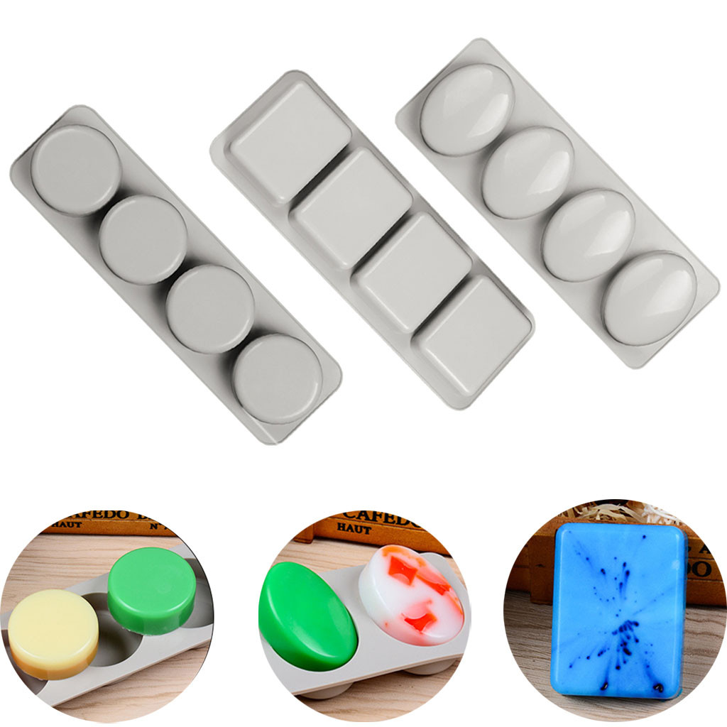 4-grids Silicone Soap Mold DIY Handmade Craft 3D Multi-function Kitchen Making Forms Baking Soap Mould For Soap Making#p7