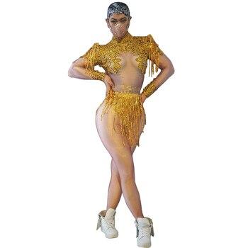 Rhinestones Sequins Tassel Spandex Leotard Long Sleeve Fringe Dance Costumes Sexy Nightclub Bar DJ Singer Stage Wear Bodysuit sparkly gold tassel bodysuit rhinestones outfit glisten beads costume one piece dance wear singer stage leotard headdress