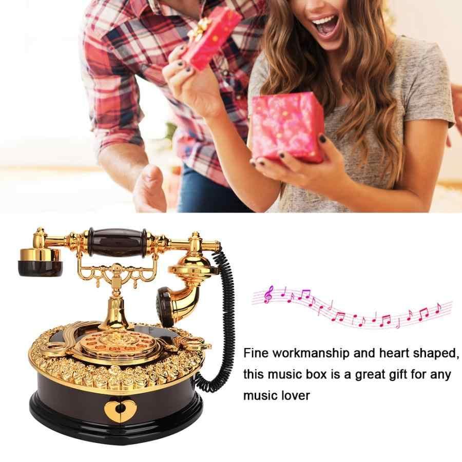 Рождественская музыкальная шкатулка ретро в форме сердца модель телефона музыкальная шкатулка подарок на день рождения Домашний декоративный орнамент подарок для девушки