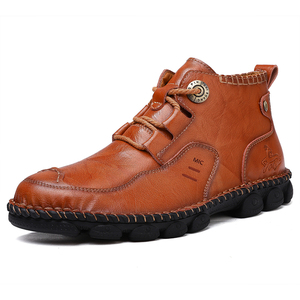 Image 1 - Mens Ankle Leather Boots 2019 Autumn Winter Men Shoes Quality Real Leather Men Vintage British Military Boots Plus Size 38 48