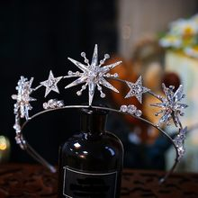 Barroco lujo Bling estrella de cristal nupcial Tiaras corona de diamantes de imitación concurso diadema novia diadema accesorios para el cabello de boda