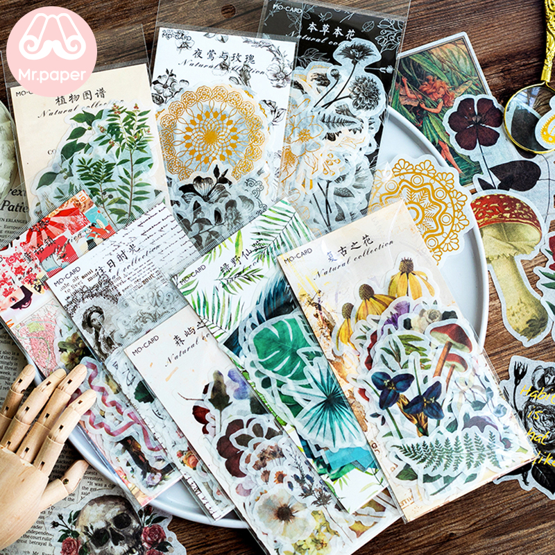 Mr.paper 8 Designs 60Pcs/lot Vintage Retro Forest Plant Style Deco Stickers Scrapbooking Bullet Journal Deco Stationery Stickers