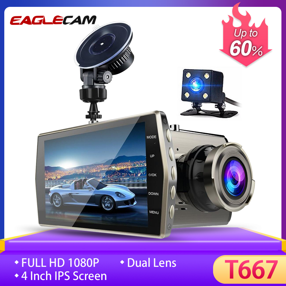 "4/"" Car Dash Cam HD 1080P Dual Lens Front RearView Auto DVR Video Recorder Camera"