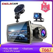 """דאש מצלמת כפולה עדשת רכב DVR רכב המצלמה Full HD 1080P 4 """"IPS קדמי + אחורי ראיית לילה וידאו מקליט G חיישן חניה צג"""