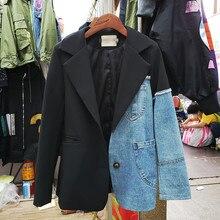 Denim Stitching Black Blazer Coat Women Short Coat 2020 New Spring and Autumn Korean Style Loose Suit Jacket Fashion Top Femme