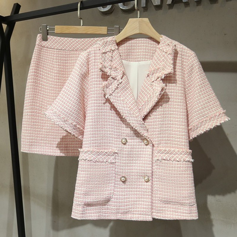 Spring Summer Qualities Womens Two Pieces Outfits Short Sleeve Double Breasted  Lapel Pockets Coats High Waist A-Line Skirts