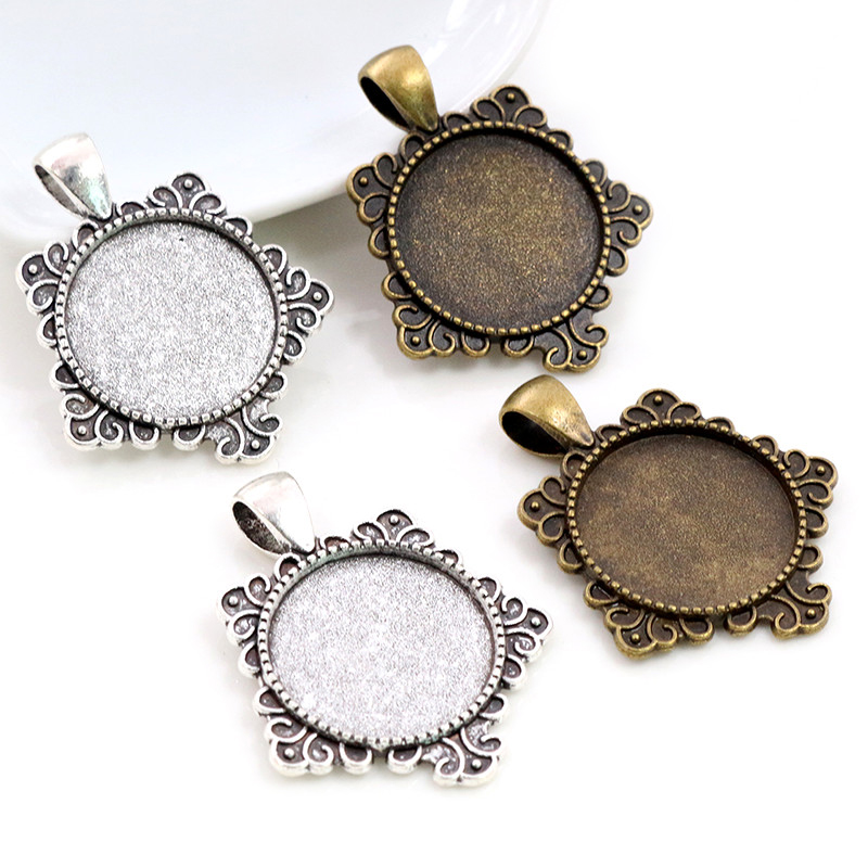 10pcs 20mm Inner Size Antique Silver Plated And Bronze Colors Fashion Style Cabochon Base Setting Charms Pendant