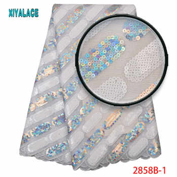 Latest Sequins Lace Fabric High Quality 2019 African Lace Fabric Embroidery French Tulle Lace For African Wedding Dress 2858b