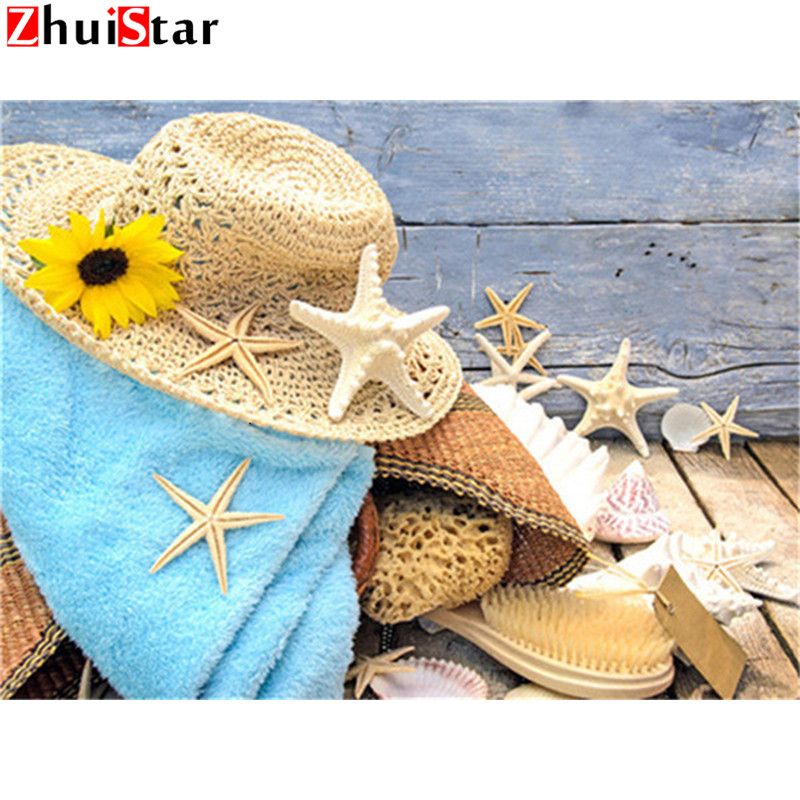 Beach Love A, 30X30cm DIY 5D Diamond Painting Kits By Number Full Drill Starfish Shell 30X40CM Rhinestone Embroidery Cross Stitch Pictures Arts Craft Home Wall Decor Gift