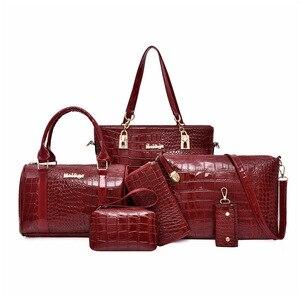 Image 4 - 6pcs/set Women messenger Bags Fashion PU Leather Vintage Shoulder bag cross body bag Tote Cool Bag Leather Women Luxury Handbags
