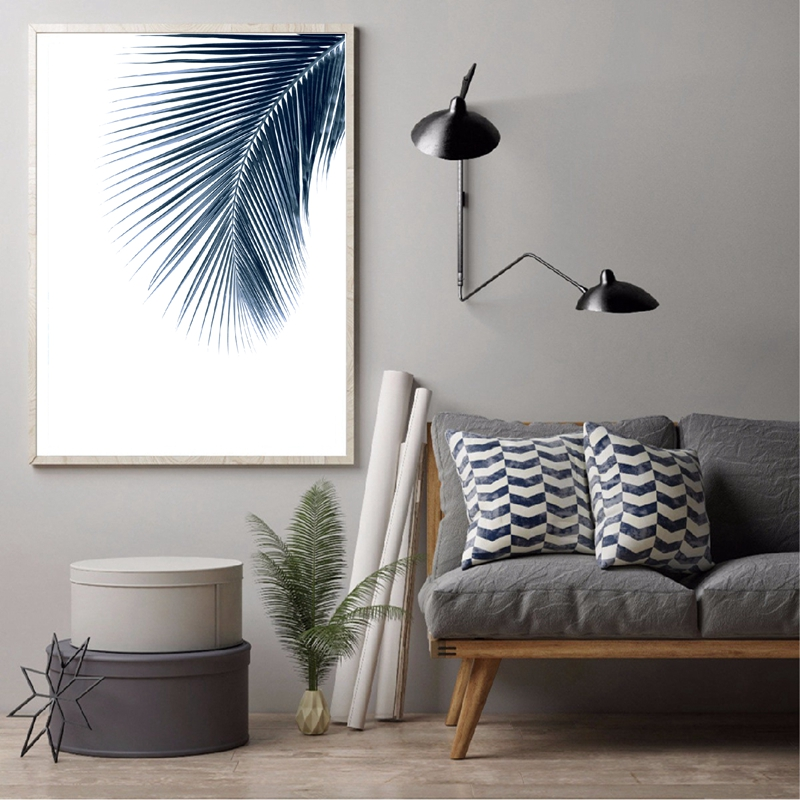 Navy Blue Wall Art Palm Leaves Canvas Painting Home Decoration