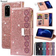 Bling Glitter Case For Samsung Galaxy S20 S10 E S9 S8 S7 Edge Note 10 Plus 8 9 Zipper Wallet Leather Flip Card Stand Cover Coque qijun glitter bling flip stand case for samsung galaxy a7 a 7 a700f 2016 a710 2017 a720 sm a720f wallet phone cover coque
