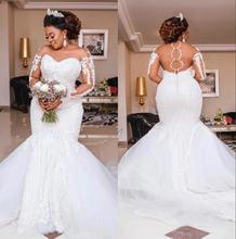 Роскошные свадебные платья Русалочки с длинным рукавом и аппликацией