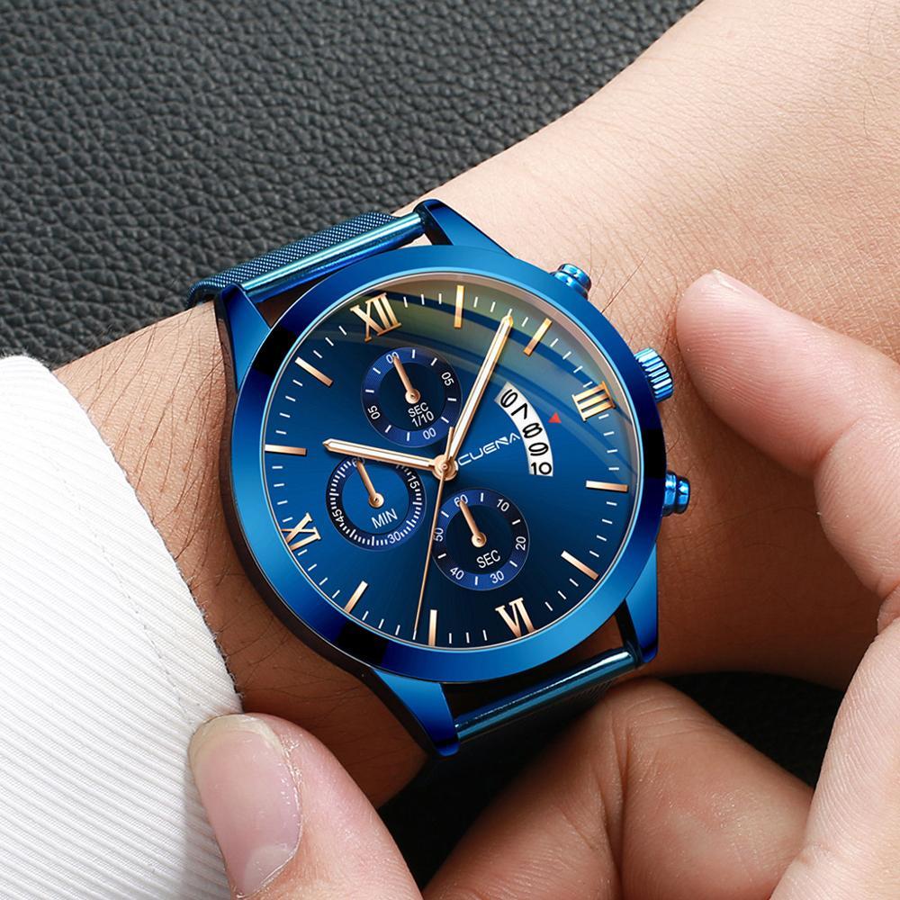 CUENA Three Eyes Men's Business Steel Belt Magnetic Blue Dial Fashion Men Streamline Wrist Watches Clock Relogio Masculino A40