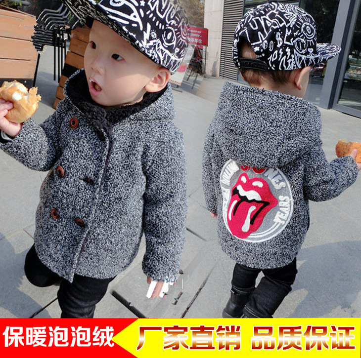 Childrenswear Children Woolen Cotton Clothes 0-1234-Year-Old Infants Thick Tops Winter New Style BOY'S Big Tongue Coat