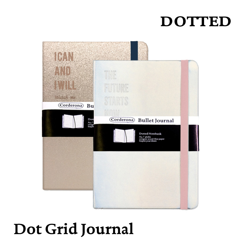 Laser A5 Dotted Notebook Dot Grid Journal Hard Cover Elastic Band Travel Planner Diary