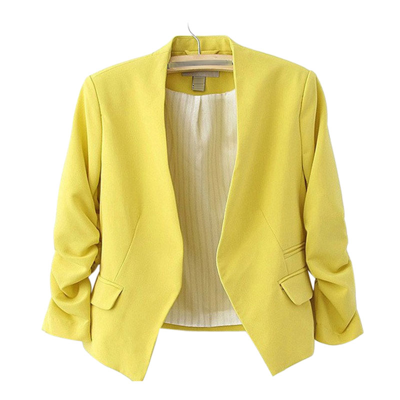 Women Blazers And Jackets 2020 Pink Short Candy Color Blazer Office Ladies Jacket Blazer Feminino Women's Tops Blazers Mujer