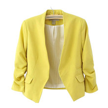 Women Blazers And Jackets 2020 Pink Short Candy Color Blazer Office La