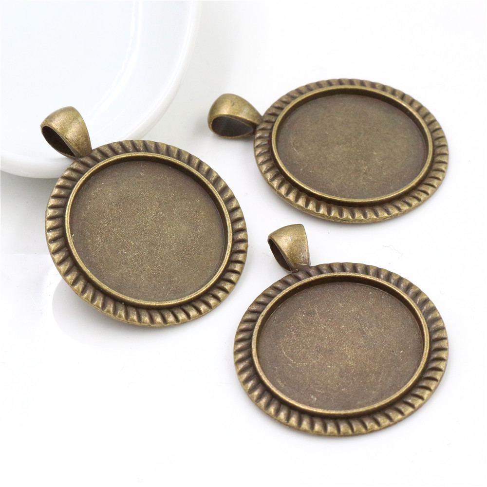 New Fashion 3pcs 25mm Inner Size Antique Bronze Classic Simple Style Cabochon Base Setting Charms Pendant (A6-30)