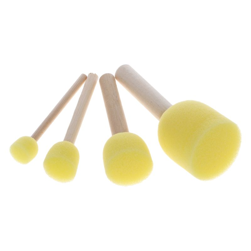 4pcs/set Wooden Handle Sponge Head Stamp Paint Brush For Children DIY Tool Assorted Size