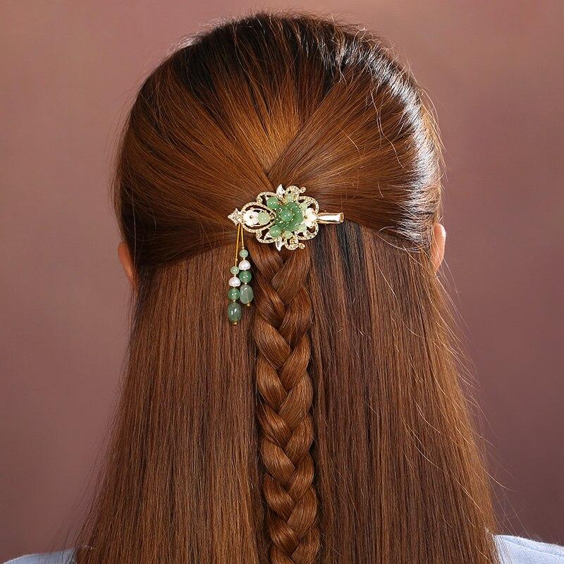 Vintage vert épingle à cheveux coquillage résine fleur accessoire cheveux pour femme ethnique cheveux bijoux Barrettes ornements cheveux accessoires Clip
