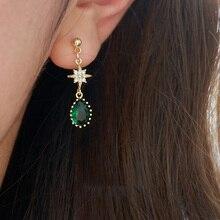 New Arrival 925 Sterling Silver Star Water Drop Emerald Stud Earrings Vintage Glossy Green Zircon Female Jewelry
