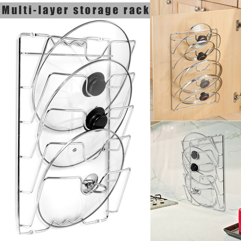 New Hot Pan Lid Storage Rack Wall Mount Pot Cover Organizer Holder Kitchen Accessories SMD66