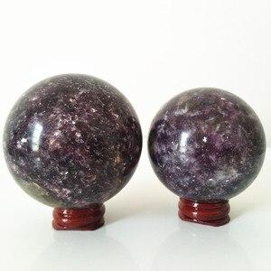 Image 3 - Natural lepidolite pedra bola de cristal casa decoração esfera cura cristais